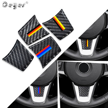 Ceyes Auto Steering Wheel Stickers Accessories Car Styling Case For Bmw M Sport Stripe Z4 E89 2009-2015 3D Carbon Fibre Emblems image
