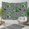 Еще черный геометрический ikat заблокированный зеленый тропический лист 3D печать декоративный хиппи богемный настенный гобелен с пейзажем
