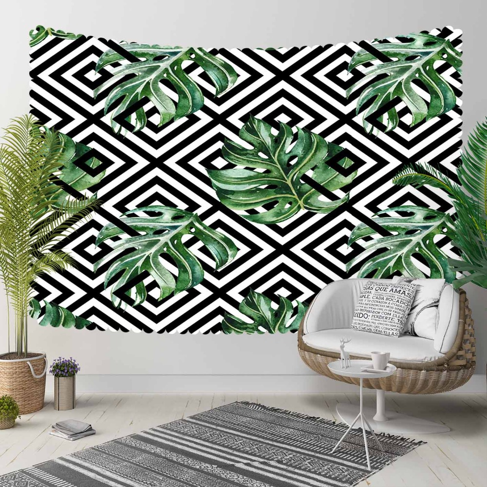 Else Black Geometric Ikat Locked Green Tropical Leaf 3D Print Decorative Hippi Bohemian Wall Hanging Landscape Tapestry Wall Art