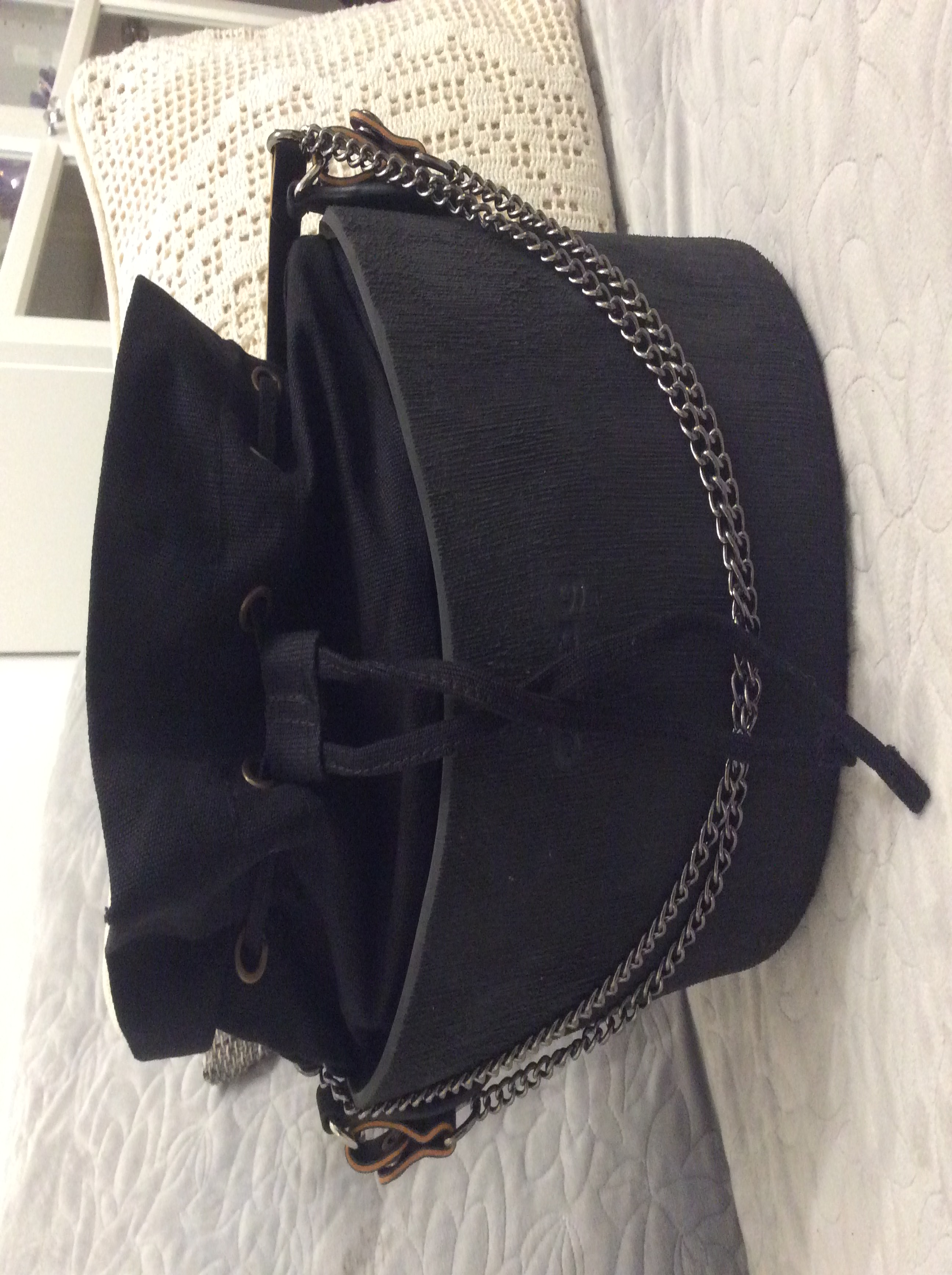 tanqu Obag New Gun zwart metaal Lange korte schoudertas ketting met zwarte kunstleer Strap Clip sluiting voor OPocket O Bag photo review