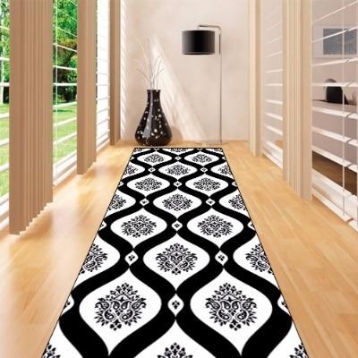 Else Black White Authentic Damask Design 3d Print Non Slip Microfiber Washable Long Runner Mat Floor Mat Rugs Hallway Carpets
