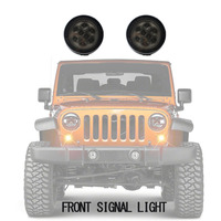 Turn Signal Light For Jeep Wrangler JK 2007 2015 2Pcs Car Led Front Grill Side Marker Lamp Bulbs Fender Recon Smoked Amber Lamp
