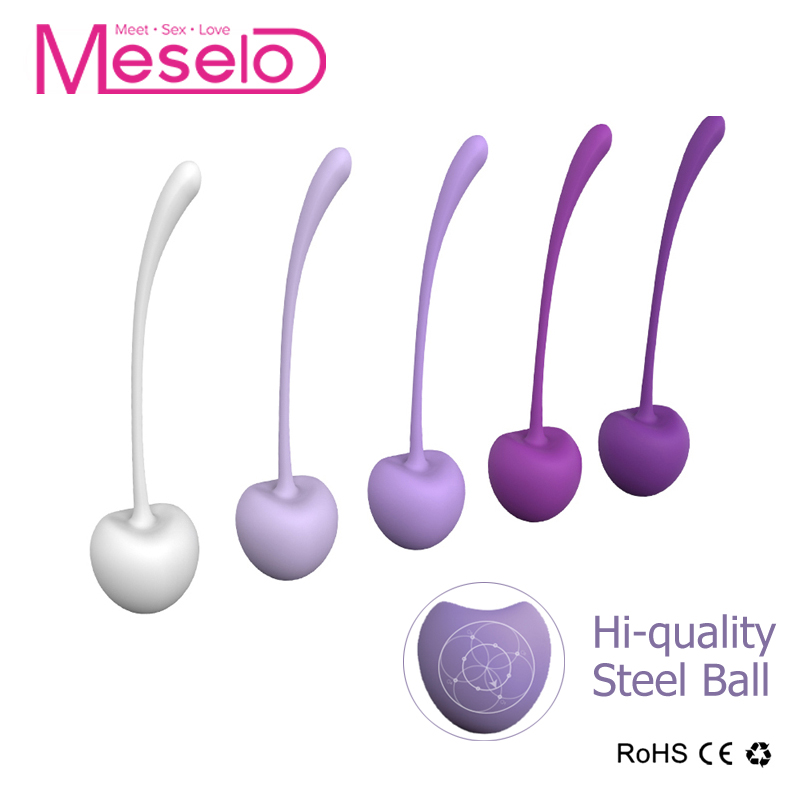 Meselo 5pieces/box Kegel Ball,Women Vaginal Tight Exercise Silicone Cherry Shock Soft Ben Wa Balls,Waterproof Sex Toys For Woman himabm 1 pcs natural jade egg for kegel exercise pelvic floor muscles vaginal exercise yoni egg ben wa ball