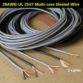28AWG 3 Cores Multicores Shielded Wires Tinned Copper Controlled Cable Headphone Cable UL2547 Black & Gray color Audio Lines image