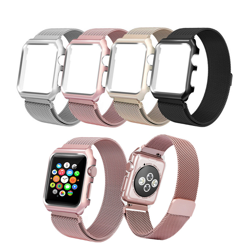 Watchband For Apple Watch Band Milanese Loop Series 3 42mm Stainless Steel Strap 38mm Series 1/2 With Bumper Case For iWatch eastar milanese loop stainless steel watchband for apple watch series 3 2 1 double buckle 42 mm 38 mm strap for iwatch band