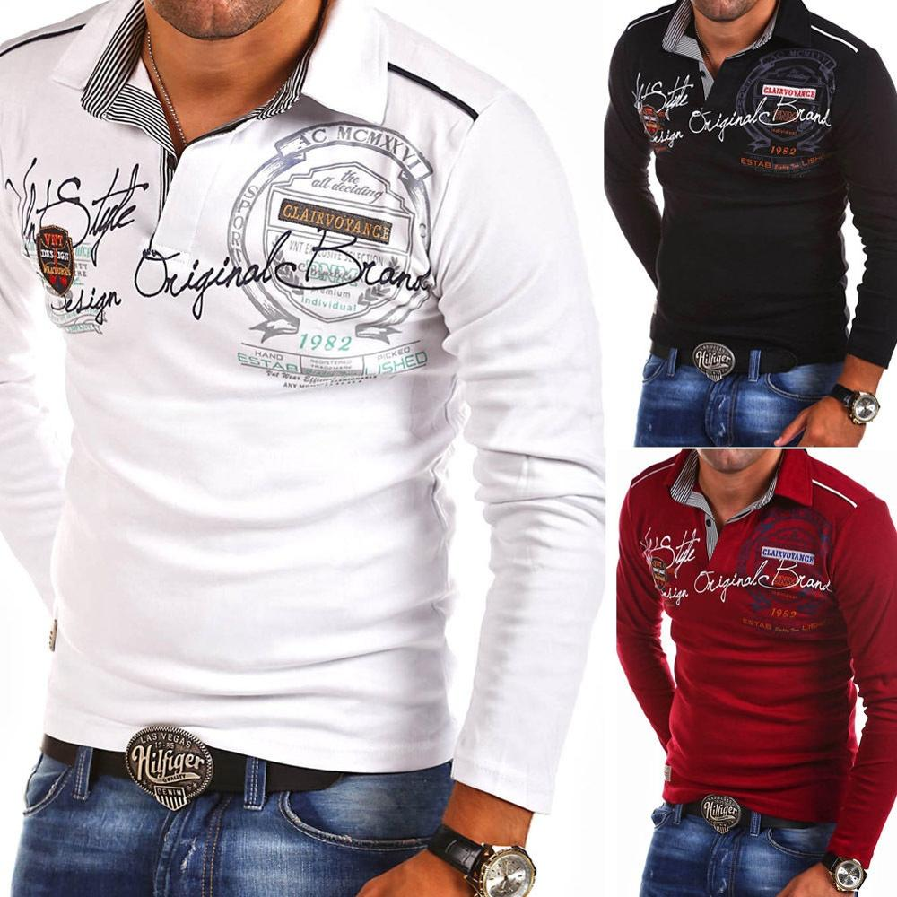 Men's Fashion Personality Cultivating Long-sleeved Polo Shirts
