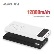 ARUN 12000 mAh Power Bank External Battery 2 USB LED Lighting Mini Portable Mobile Phone Charger for Xiaomi mi iphone XS 8plus