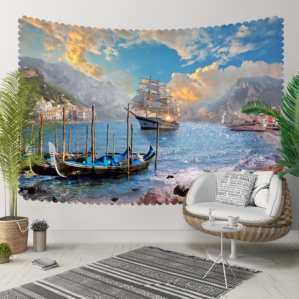 Else Blue Skye White Clouds  Sea Side Ships Nature 3D Print Decorative Hippi Bohemian Wall Hanging Landscape Tapestry Wall Art