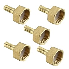 UXCEL 5pcs Barb Hose Fittings Brass Connector Adapter 8/10/12/16mm Barbed x 1/2, 3/8 PT Male Pipe Low Magnetic Permeability