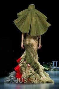 Image 3 - JUSERE vestido verde de sirena para graduación, Apliques de encaje, bordado de flores, largo, 2019