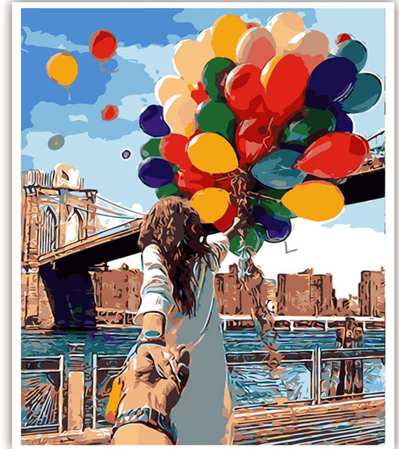 Urijk Romantic Oil Painting By Numbers Canvas DIY Couple with balloons Handpainted Painting Coloring Home Decor No Frame