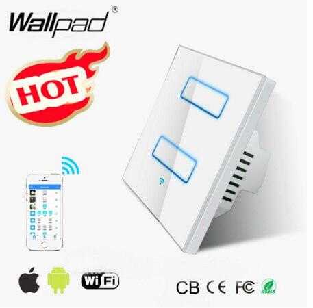 Smart Home Wallpad WIFI interrupteur de lumière EU UK 110 ~ 220 V 2 Gang 2 voies 2.4 Ghz Wifi écran tactile contrôle mur interrupteur IOS Androd