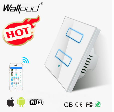 Smart Home Wallpad White WIFI Light Switch EU UK 110~220V 2 Gang 2.4 Ghz Wifi Touch Screen Control Wall Light Switch IOS Androd 2017 free shipping smart wall switch crystal glass panel switch us 2 gang remote control touch switch wall light switch for led
