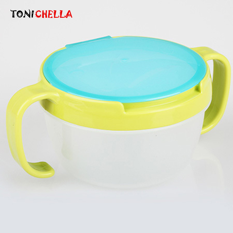Colorful Baby 360 Rotate Spill-Proof Bowl Feeding Food Snack Dishes Tableware Container With Cover And Handle T0351