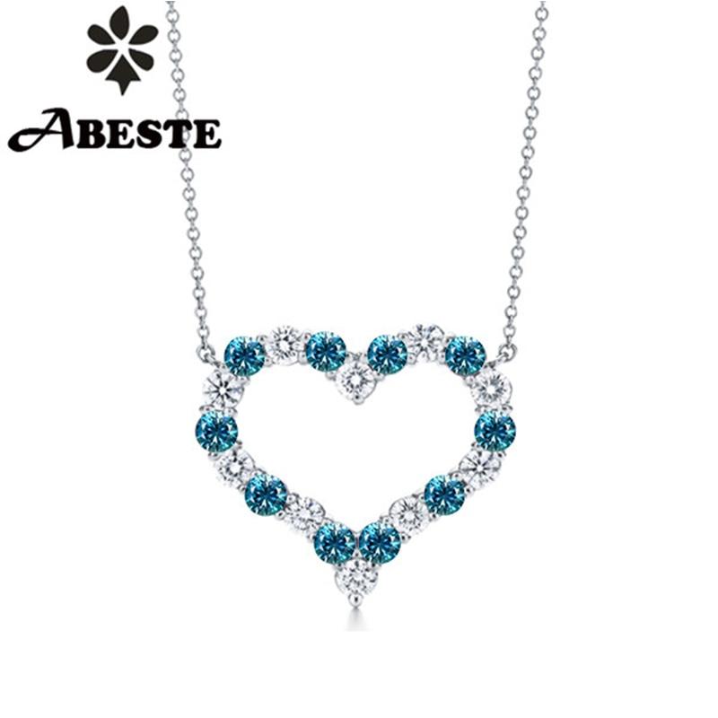 ANI 18K (Au750) White Gold Pendant Necklace Certified Natural Blue Zircon Gemstone Jewelry Women Engagement Necklace Customized