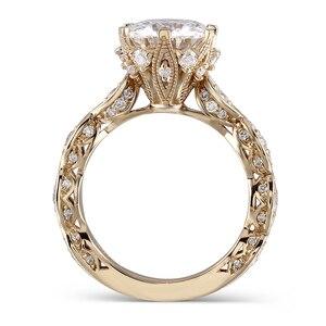 Image 2 - DovEggs anillo de oro amarillo y moissanita para mujer, sortija, oro de 14K, 585, 3CT, centro, 9mm, ancho de banda de 2,2mm, conjunto de anillos de compromiso con Detalles
