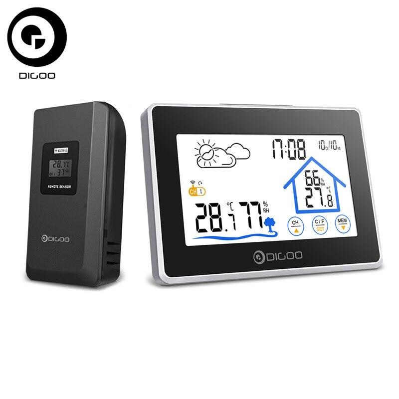 Digoo DG-TH8380 Drahtlose Thermometer Hygrometer Touchscreen Wetterstation Thermometer Außen Prognose Sensor Uhr