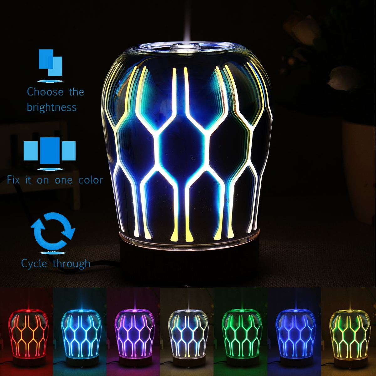 90-100 ml LED Color Changing Night Light 3D Oil Aroma Diffuser Portable Humidifier Bedside Desk Table Lamp Home Decor home decor cartoon sheep bedside desk led night light