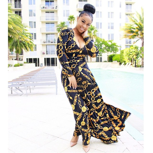 41afc6d44493 YSMARKET vestidos Gold Chain Printed Dress For Women Wear Elegant Casual  Maxi Dresses Long Sleeve Boho Clothing Y1003