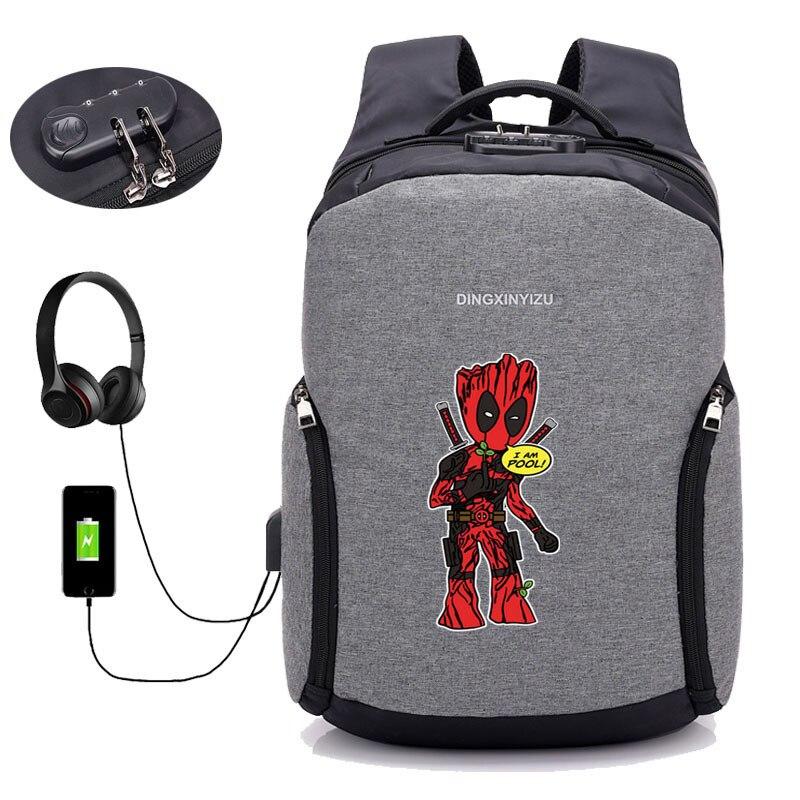 Sacs à dos antivol USB Charge sac à dos Deadpool sac à dos ordinateur portable femmes hommes homme sac à dos de voyage - 3