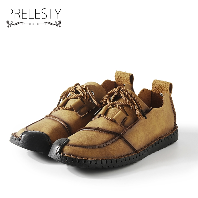 Prelesty Luxury Urban Style Autumn Handmade Genuine Leather Men Driving Shoes Loafers Mens Shoes Casual Breathable