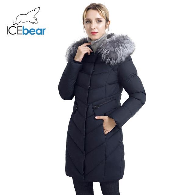ICEbear 2017 Зимнее женское пальто из высококачественного тёплого материала съёмный меховой воротник карман с двухсторонней молнией для повседневного использования 17G6560D