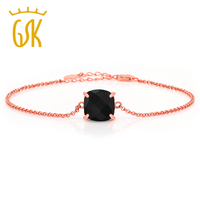 GemStoneKing 3 75 Ct Checkerboard Square Natural Black Onyx Rose Gold Plated 925 Silver Bracelet For
