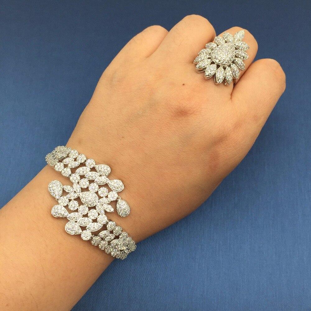 Nankiya New Tassel Drop Women Wedding Jewelry Sets Cubic Zirconia Saudi Arabia Statement Necklace 4pcs Set Factory Price NC733