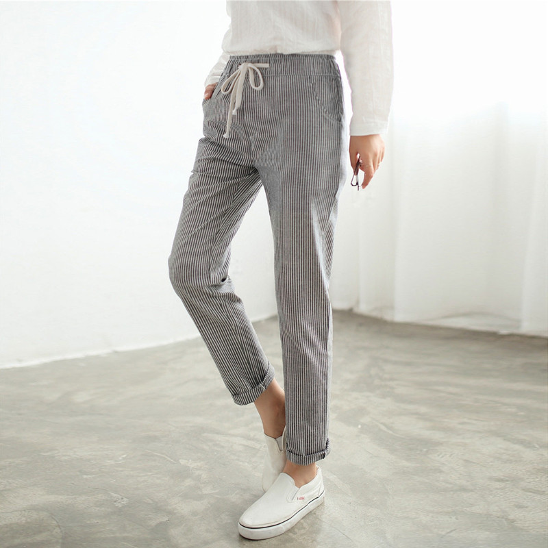 Fashion Autumn 2018 Women Long Pants Sexy Ladies Casual Elastic Waist Pockets Vintage Vertical Stripe Slim Cotton Blend Trousers