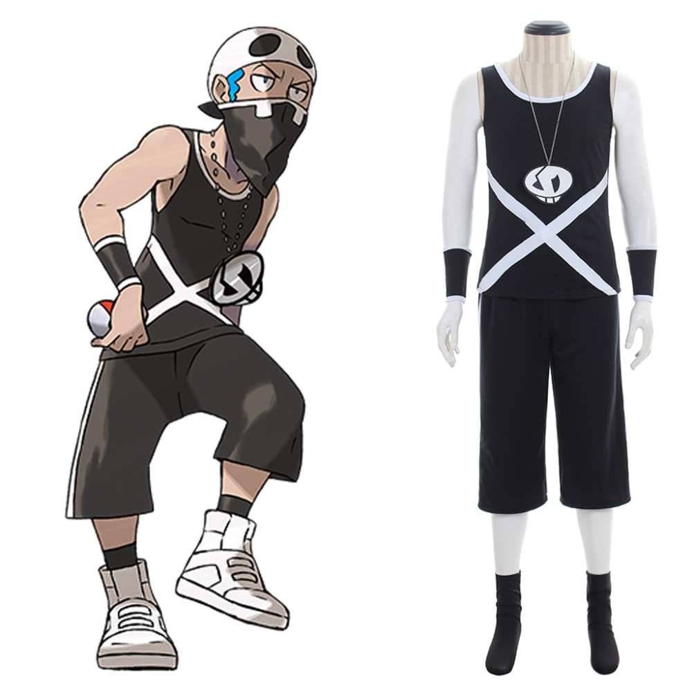 Anime Pocket Monsters Pokemon Sun and Moon Team Skull Grunts Male Cosplay Costume T shirt Short Adult Halloween Party Costume
