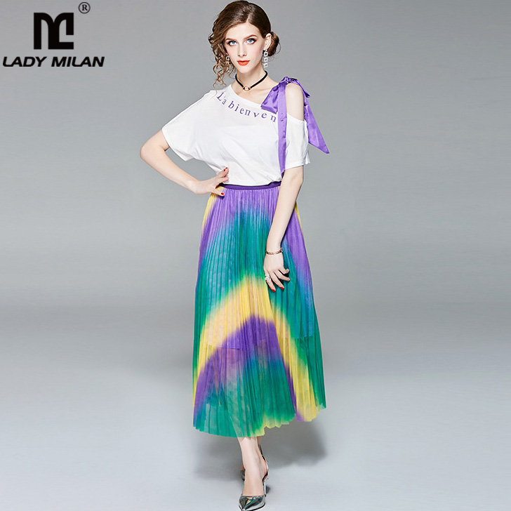 New Arrival 2018 Womens Slash Neckline Bow Detailing T Shirt with Pleated Color Block Skirts Fashion Two Piece Dresses Sets