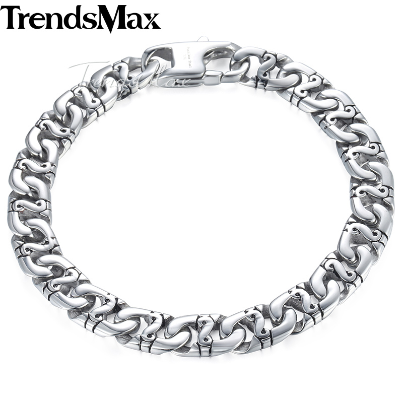 Trendsmax Biker Mens Bracelet for Women Silver Color Marina Link Chain 316L Stainless Steel Bracelet HB19 boniskiss 2017 22mm mens sport wristband boys silver stainless steel skull bracelets biker motorcycle chain bracelet