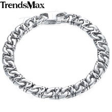 Trendsmax Biker Mens Bracelet for Women Silver Color Marina Link Chain 316L Stainless Steel Bracelet HB19