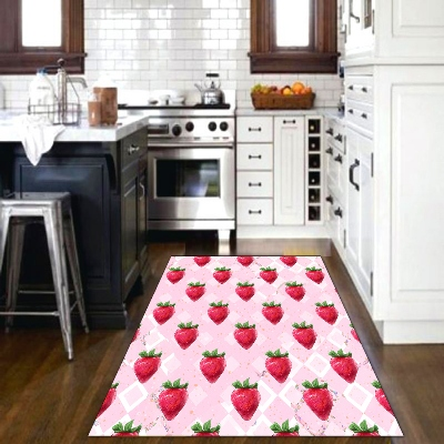 Else Pink Floor Red Strawberry White Tales Summer 3d Print Non Slip Microfiber Kitchen Modern Decorative Washable Area Rug Mat