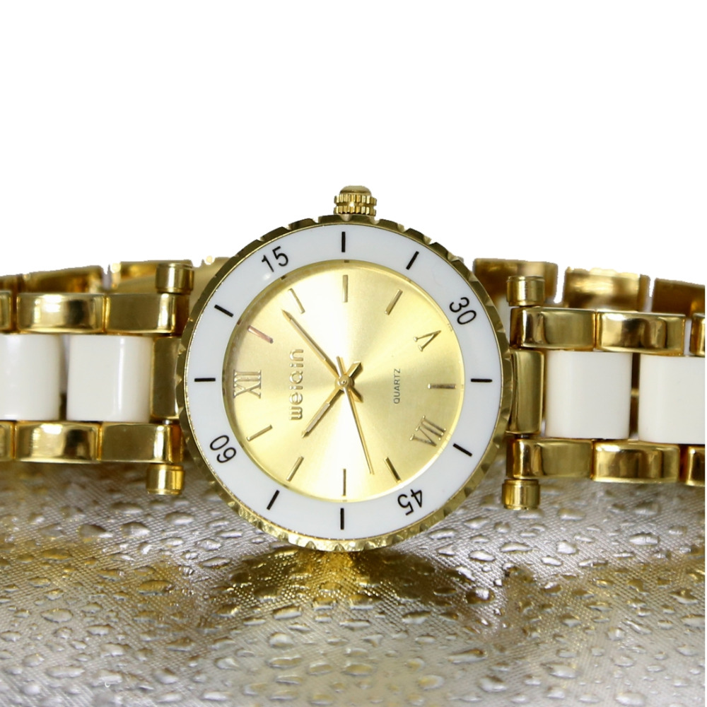Two Tone Gold With White Bracelet Watches Round Men Women Fashion Watch