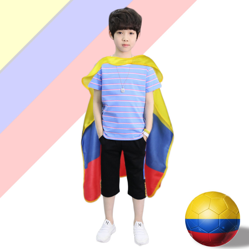 D.Q.Z L 27* Satin Material <font><b>Columbia</b></font> Flag Costume Cape Child Football Fan Gifts Cosplay UN Party Cosplay National Day <font><b>Dress</b></font> Up