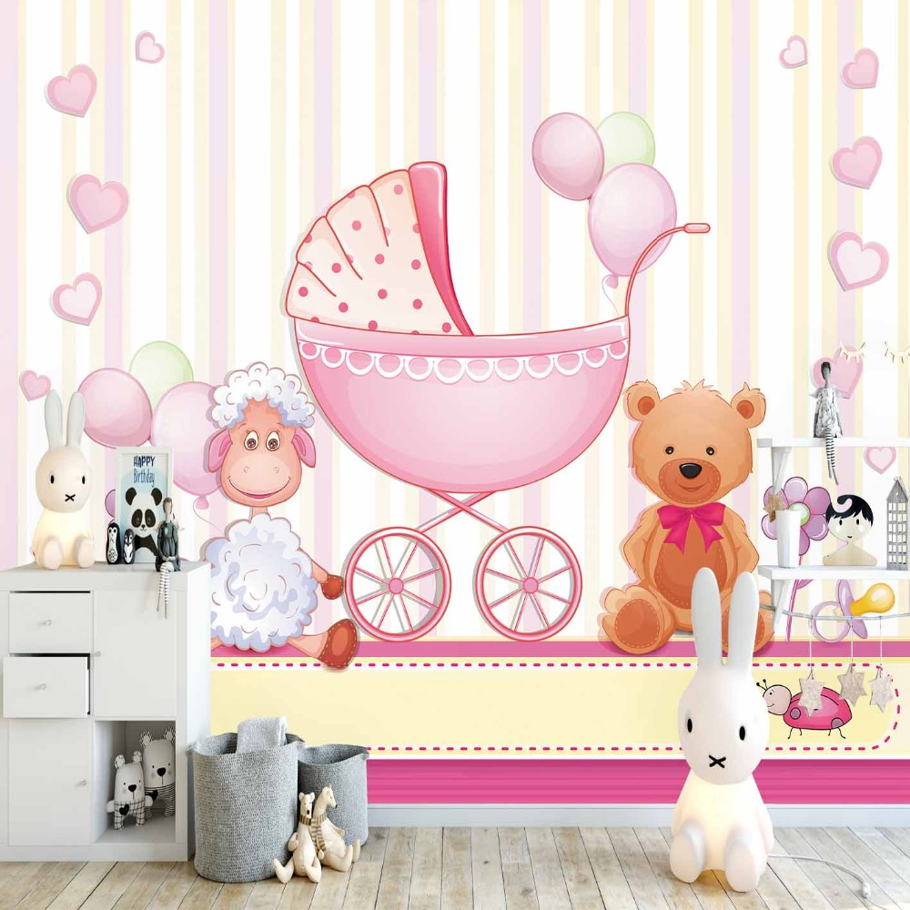 Else Pink Yellow Lines Teddy Bear Lamps Cradle 3d Print Cartoon Cleanable Fabric Mural Kids Children Room Background Wallpaper