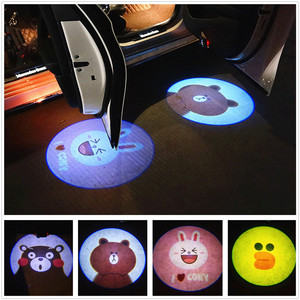 2PCS Car Shadow Door Light Cartoon Wireless Laser Projector Logo Led Welcome Lamp For Mini Cooper Car-styling Accessories(China)