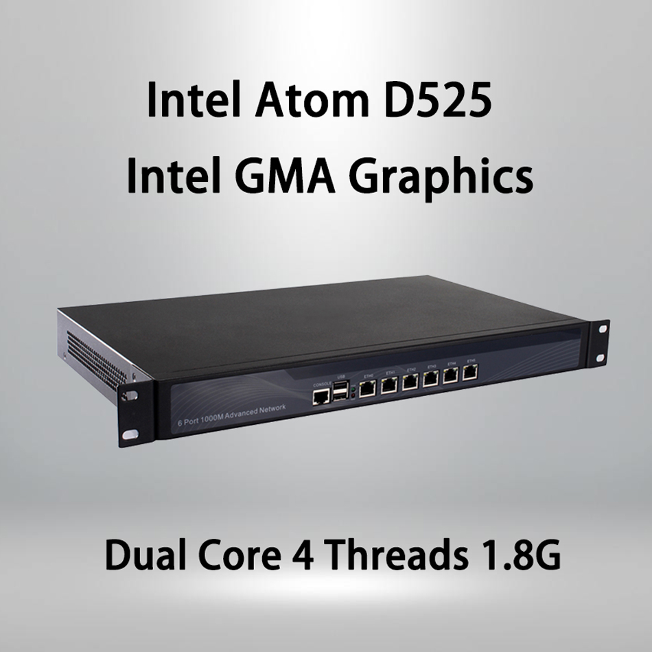 Firewall Mikrotik Pfsense VPN Network Security Appliance Router PC Intel Atom D525,[HUNSN SA05R],(6LAN/2USB2.0/1COM/1VGA/FAN)