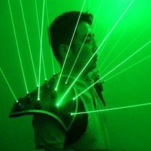 새로운 도착 녹색 레이저 정장, led 조끼, 빛나는 양복 조끼 532nm 녹색 레이저 장갑 안경 레이저 쇼