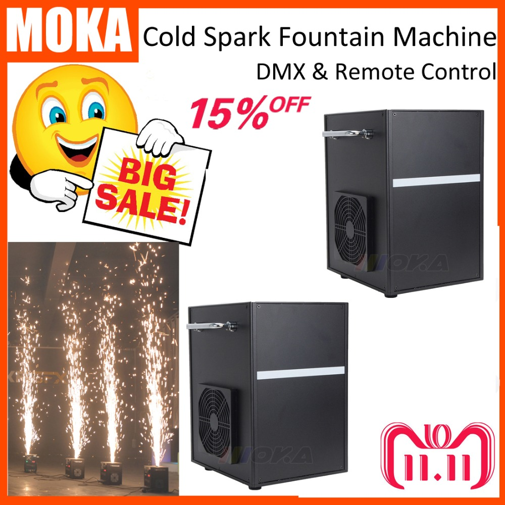2 Pcs/lot with flight case DMX electric cold spark machine Fireworks sparkular Machine for wedding party shows MSDS approved 6pieces dhl free shipping super bright 38leds rgbw remote control waterproof outdoor wireless glowing module led