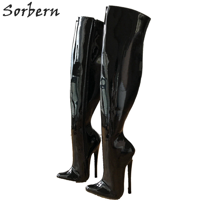 Sorbern 65cm Hard Shaft Customized Calf Mid Thigh 18cm Stiletto Boot Black Patent Women Shoes High