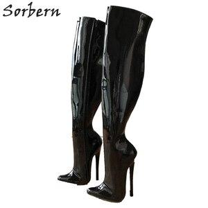 Image 1 - Sorbern 65cm קשיח פיר מותאם אישית עגל אמצע ירך 18cm פגיון אתחול שחור פטנט נשים נעליים גבוהה עקבים חדש רך פנימי מגפיים