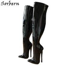Sorbern 65cm sert şaft özelleştirilmiş buzağı orta uyluk 18cm Stiletto çizme siyah Patent kadın yüksek topuklu ayakkabı yeni yumuşak iç botları