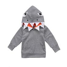 Toddler Kids Baby Boys Hoodie Cotton Long Sleeve Hooded Pullover Shark Cartoon G