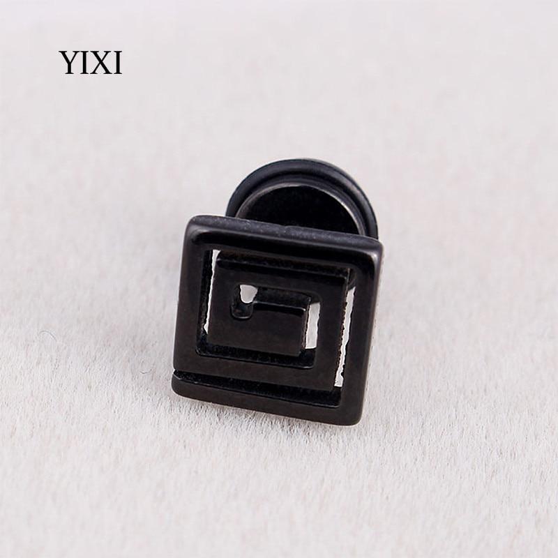 YIXI Trendy Geometric Earrings Stud Punk Maze Square Small Stainless Steel Earrings For Women Men Earring Jewelry Pendientes