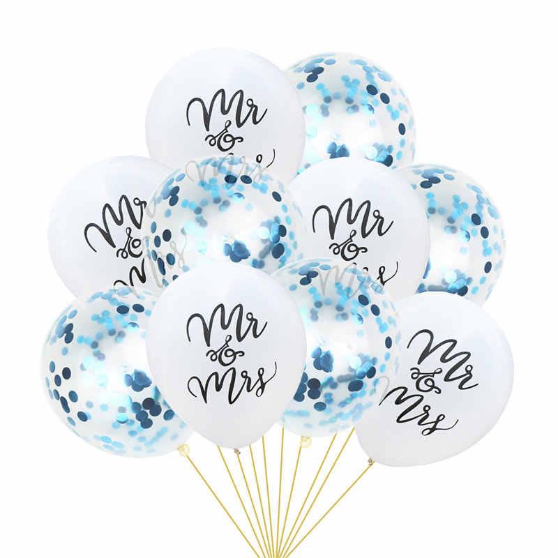 """10 шт. 12 дюймов 10 дюймов Латекс """"миссис письмо воздушные шары с принтами блестящие конфетти блестящие Свадебная вечеринка Обручение украшения"""