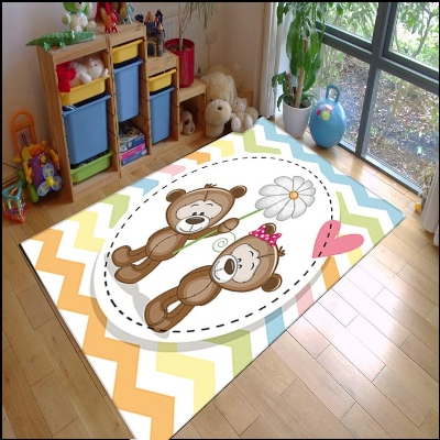 Else Colored Lines Funny Bears Daisy Flower  Animal 3d Print Non Slip Microfiber Children Kids Room Decorative Area Rug Mat