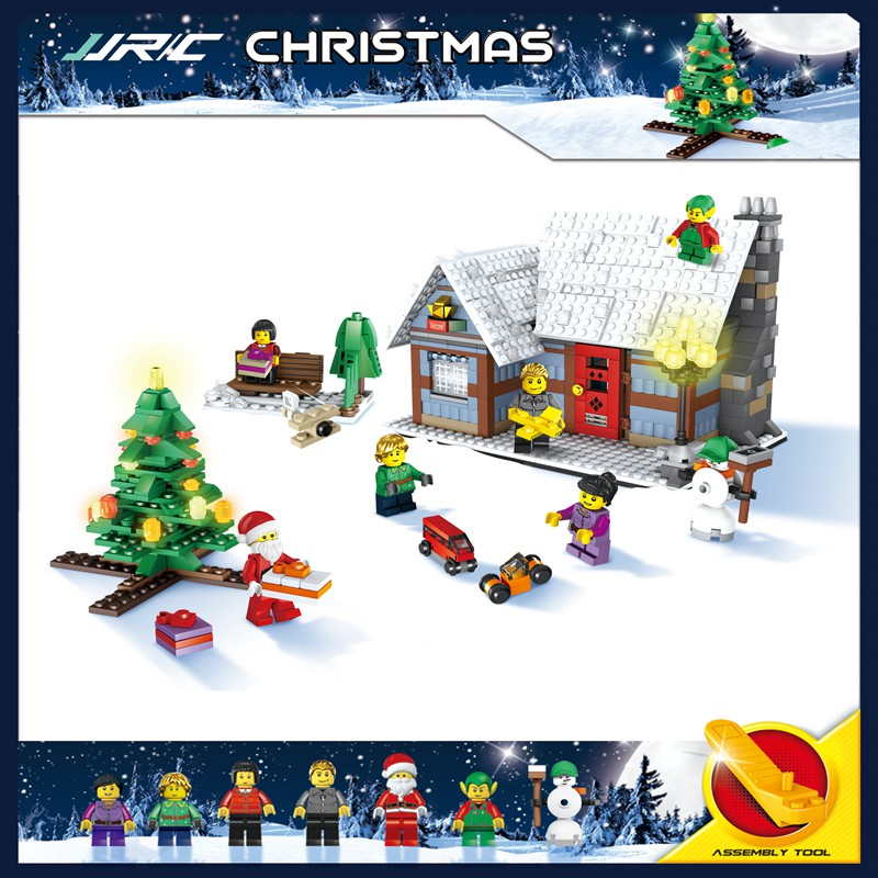 JJRC Christmas Village Santa Claus Wooden Horse Funny Building Blocks Figures Best Gift Education Present Toys for Kids Children inflatable cartoon customized advertising giant christmas inflatable santa claus for christmas outdoor decoration