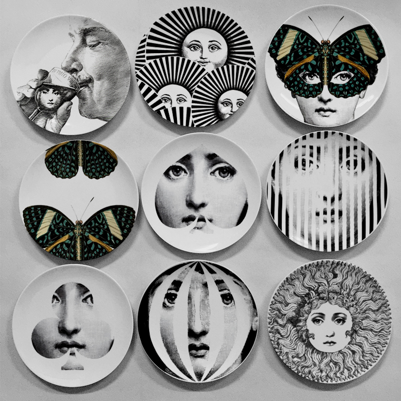 Black And White Fornasetti Plates Home Decoration Christmas Decoration Dinner Plate Decorative Wall Dishes China Wall Plates